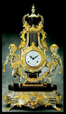 Imperial Gold & Silver Gilt Finish shown on Brass and Marble Clock #9