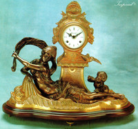 An Imperial Handmade Reproduction 18.5 Inch Gilt Brass Ormolu and Italian Marble Clock
