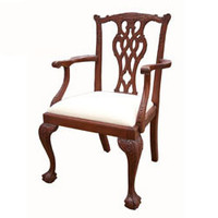 Custom Decorator - Reproduction Hardwood Hand Carved English Chippendale Style - 38.2 Inch Dining Arm Chair - Upholstered Seat