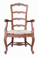Custom Decorator - Hardwood Hand Carved Reproduction - Rococo Style Ladder Back Fauteuil - 47.6 Inch Dining Arm Chair - Rush Seat