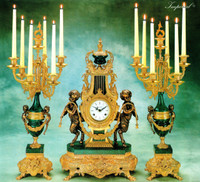 Imperial Garniture, Verde Delle Alpi, Green Italian Marble & Brass Ormolu Clock, 26.37 Inch, 7 Branch Candelabra Set, Handmade Reproduction in French Gold Gilt Patina