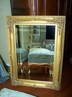 """French Baroque Louis XIV Style, 5.25"""" Wide Frame, 41"""" Large Soft Gold Leaf Drama Bevel Glass Mirror, 1619"""
