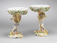 A Meissen Style Porcelain Compotier | Pedestal Bowl | Pedestal Flower Arrangement Vase | Right and Left Facing Set | 8.5t X 6.5w X 6.5d