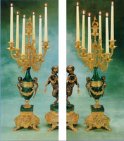 Candelabra Pair, Handmade, Oversize, Gilt Brass & Green Marble - Handmade Reproduction of a 17th, 18th Century Dore Bronze Antique, 1601
