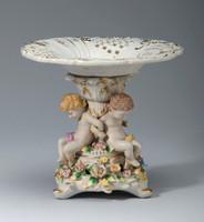 A Meissen Style Tabletop, 8t X 9w X 9d Porcelain Pedestal Bowl | Compotier