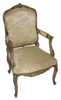 Custom Decorator - 18th Century Design French Rococo Louis XV Style - Hand Carved Reproduction - 39.4 Inch Salon Arm Chair