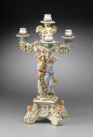 A Meissen Style Tabletop, 25t X 14w X 14d Porcelain Candelabrum