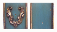 Blue with Gold Antique Accent Furniture Finish