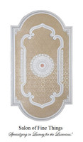 "Architectural Accents White & Damask, Oblong Decorative Ceiling Medallion, 94""L x 51""w x 3"" thick"