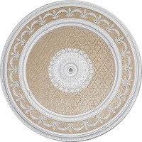 "Architectural Accents - White Damask 63"" Diameter x 3"" thick, 1285 Round Decorative Ceiling Medallion"