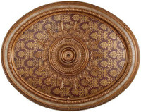 "Architectural Accents - Burgundy & Gilt Floral & Brocade 1284, Oval Decorative Ceiling Medallion - 79""L x 63""w x 3"" thick"