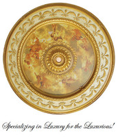 "Architectural Accents - 63"" Diameter x 3"" thick, Round Gilt Michelangelo's Sistine Chapel 1276 Decorative Ceiling Medallion"