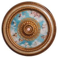 "Architectural Accents - Gilt & Blue Sky - Angelic Putti 98.5"" Diameter x 3"" thick, 1271 Round Decorative Ceiling Medallion"