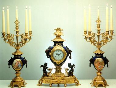 Imperial Blu Cobalto Garniture, Cobalt Blue Italian Porcelain & Brass Ormolu Clock, 23.62 Inch, 6 Branch Romance Portrait Candelabra Set, Handmade Reproduction in French Gold Gilt Patina