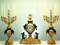 Imperial Blu Cobalto Garniture, Cobalt Blue Italian Porcelain & Brass Ormolu Clock, 23.62 Inch, 6 Branch Romance Portrait Candelabra Set, Handmade Reproduction in French Gold Gilt Patina