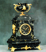 An Imperial Nero Portoro, Black Italian Marble & Brass Ormolu Tabletop, Mantel Clock, 17.71 Inch, Handmade Reproduction in Antique 24 Karat Gold Gilt Patina