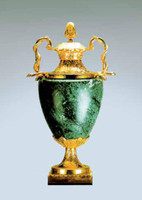 Verde Delle Alpi, Green Italian Marble & Brass Ormolu 27.5 Inch Urn, French Gold Gilt Patina - Handmade Reproduction of a 17th, 18th Century Dore Bronze Antique, 6682