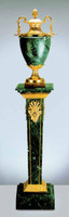 An Imperial Verde Delle Alpi, Green Italian Marble & Brass Ormolu Urn and Column, 66.85 Inch Set, Handmade Reproduction in French Gold Gilt