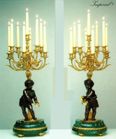 An Imperial Verde Delle Alpi Italian Marble & Brass Ormolu, 30.70 Inch, 9 Branch Candelabra Left & Right Facing Set, Handmade Reproduction in French Gold Gilt