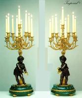"Verde Delle Alpi Italian Marble & Brass Ormolu, 30.70"" Nine light Candelabra Left & Right Facing Set, French Gold Gilt - Handmade Reproduction of a 17th, 18th Century Dore Bronze Antique, 6679"