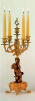 An Imperial Polychrome Italian Brass Ormolu, 21.25 Inch, 5 Branch Candelabra Right & Left Facing Set, Handmade Reproduction in French Gold Gilt