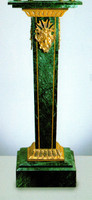 An Imperial Verde Delle Alpi, Green Italian Marble & Brass Column, 39.30 Inch Handmade Reproduction in French Gold Gilt