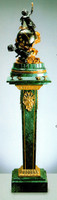 An Imperial Verde Delle Alpi, Green Italian Marble & Brass Ormolu Clock and Column, 68.82 Inch Set, Handmade Reproduction in French Gold Gilt