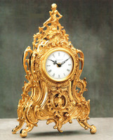 Handmade in Italy - Imperial Ornamental d'Oro Ormolu - Shelf, Mantel, or Desk, Italian Made Clock - Louis Quinze, Rococo - Choose Your Finish - 15.74t X 4.33d X 9.44w