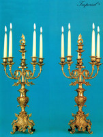 An Imperial Handmade Italian Reproduction Gilt Brass Ormolu, Five Branch 25.98 Inch Candelabra Set, French Gold Finish