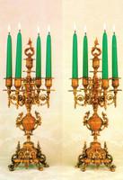 "Brass Ormolu,, 19.68"" Five light Candelabra Set, French Gold Gilt Patina - Handmade Reproduction of a 17th, 18th Century Dore Bronze Antique, 6668"