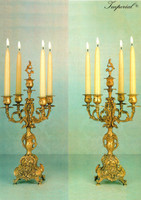 An Imperial Handmade Italian Reproduction Gilt Brass Ormolu, Five Branch 19.29 Inch Candelabra Set, French Gold Finish