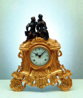 Ornate d'Oro Ormolu - Shelf, Mantel, or Desk Clock - Adoring Couple - Choose Your Finish - Handmade Reproduction of a 17th, 18th Century Dore Bronze Antique, 6663
