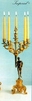 An Imperial Handmade Italian Reproduction Gilt Brass Ormolu, Six Branch Left and Right Facing 25.98 Inch Candelabra Set, French Gold and Polychrome Finish