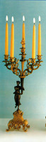 An Imperial Handmade Italian Reproduction Gilt Brass Ormolu, Six Branch Right and Left Facing 25.98 Inch Candelabra Set, French Gold and Polychrome Finish