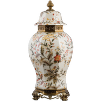 Autumn Foliage Pattern, Luxury Hand Painted Porcelain and Gilt Bronze Ormolu, 22 Inch Covered Jar