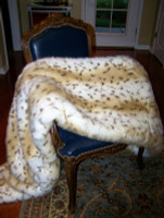 "Snow Leopard Faux Fur Throw - Natural look & Luxuriously Soft - Large 58"" X 59"""