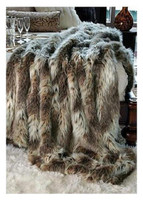 "Eurasian Lynx Faux Fur Throw - Natural looking & Luxuriously Soft - Large 58"" X 59"""