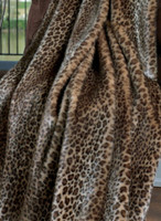 "Javan Leopard Faux Fur Throw - Natural look & Luxuriously Soft - Large 58"" X 59"""