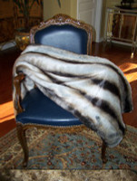 "Chinchilla Faux Fur Throw - Natural look & Luxuriously Soft - Large 58"" X 59"""