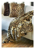 "Leopard Faux Fur Throw - Natural looking & Luxuriously Soft - Large 58"" X 59"""