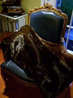 "Sable Faux Fur Throw - Natural look & Luxuriously Soft - Large 58"" X 59"""