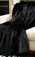 Pelted Black Mink - Luxaire Faux Fur Throw - Natural look & Luxuriously Soft - Large 58 X 59 Inches