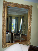 """French Renaissance Louis XIII Style Drama Bevel Mirror, Antique Gold - Large 43""""t x 37""""w - Wide 6.87"""" Oversized Frame, 512"""