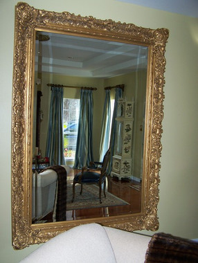 """French Renaissance Louis XIII Style Drama Bevel Mirror, Antique Gold - Palace Size Leaning 85""""t x 61""""w - Wide 6.87"""" Oversized Frame, 507"""