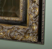French Renaissance Louis Treize Flourish - Traditional Drama Bevel Mirror, Antiqued Gold, Black, and Grey, Small 18t x 16w - Wide 5.75 Inch Wide Carved Frame 6634