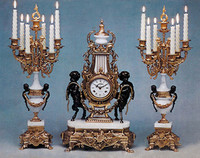 An Imperial Handmade Reproduction Garniture, Gilt Brass Ormolu, Bianco Carrera Italian Marble Clock & Candelabra, French Gold Finish
