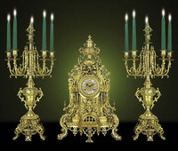 Antique 18th Century Style French Neo Classical, Louis XVI Garniture, Gilt Brass Ormolu Mantel, Table Clock and Six Light Candelabra Set, French Gold Finish, Handmade Reproduction of a 17th, 18th Century Dore Bronze Antique, 266