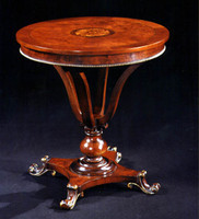 """Round Inlaid End Table with Golden Accents 27"""" X 27"""""""