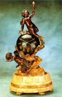 An Imperial Handmade Italy Reproduction Gilt Brass Ormolu, 29 Inch Italian Crema Valencia, Cream Marble Clock, 24 Karat Gold Finish and 8 Day Franz Hermle Movement