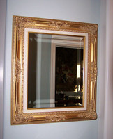 """Louis Quinze French Rococo, Louis XV 5.5"""" Wide L429 Gold and Linen Frame, Large 40.5""""t X 34.5""""w Drama Bevel Traditional Mirror, 6609"""